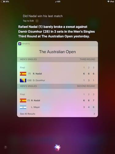 المحادثة مع Siri حول نتائج Nadal
