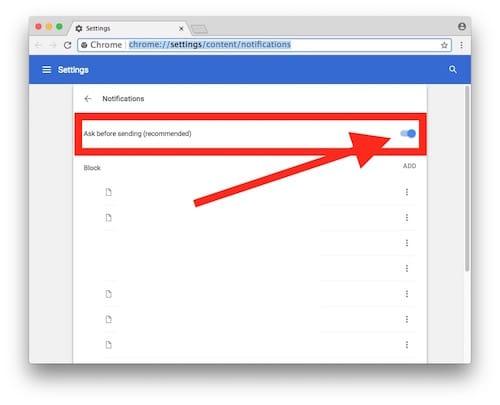 صفحة الإشعارات على جوجل كروم