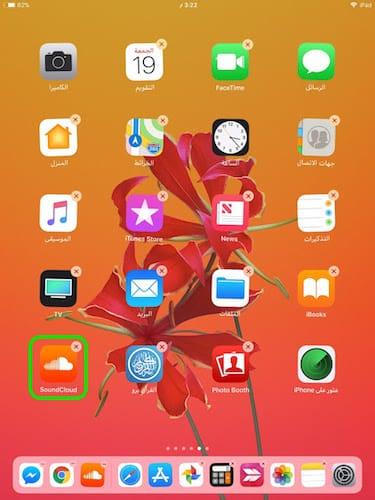 الشاشة الرئيسية للايباد