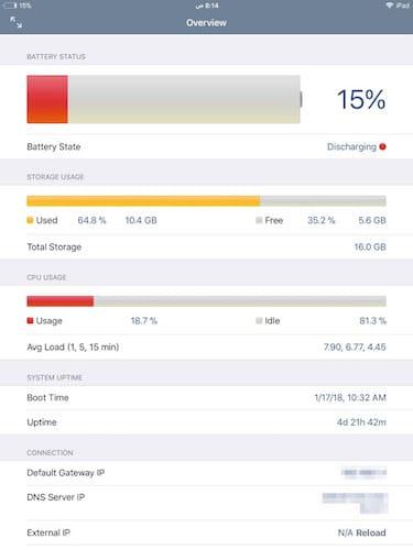 واجهة تطبيق System Status Lite: hw monitor