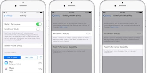نظام إدارة أداء البطراية على إصدار iOS 11.3