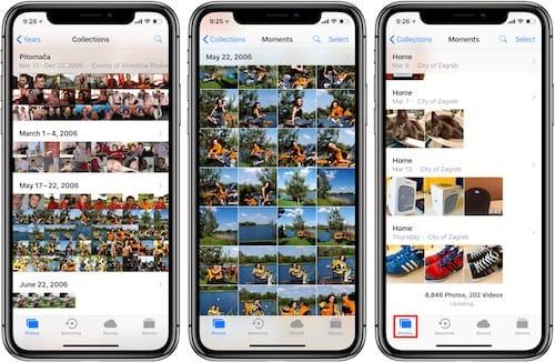 واجهة تطبيق ألبوم الصور