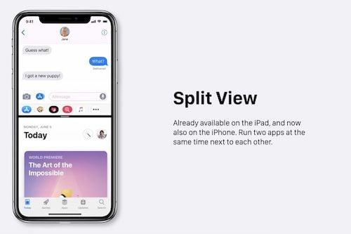 ميزة تقسيم الشاشة
