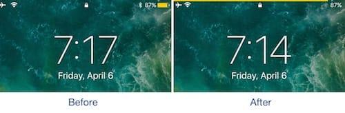 شعار البطارية قبل و بعد تثبيت أداة BatteryBar
