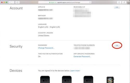 إعدادات حساب Apple ID
