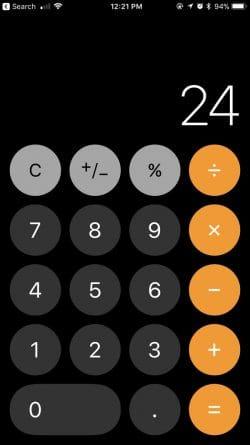 الحاسبة على الايفون