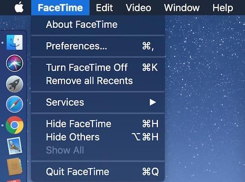 قائمة خيارات FaceTime