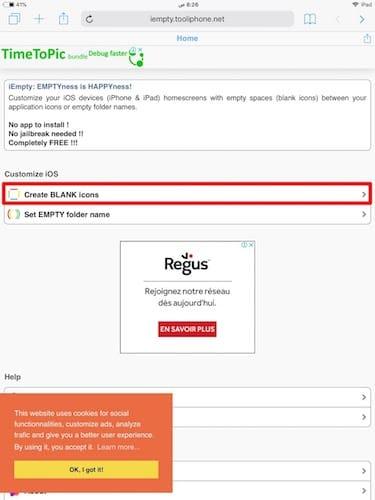 صفحة موقع http://iempty.tooliphone.net
