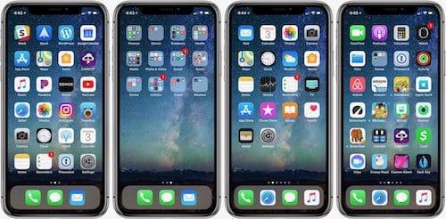 شاشة الايفون قبل و بعد إعادة تعيين شكل الشاشة الرئيسية