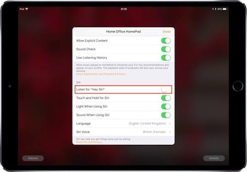خيارات تفاصيل سماعات HomePod