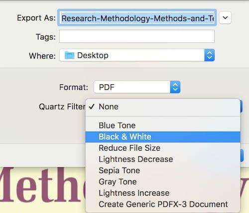 خيارات Quartz Filter