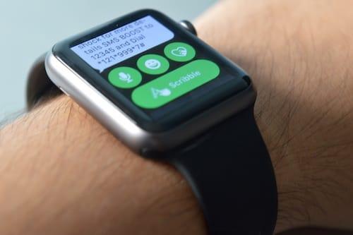 واجهة إرسال رسالة نصية على ساعة ابل واتش