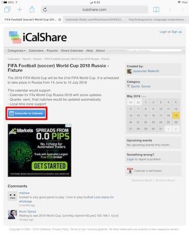واجهة صفحة icalshare
