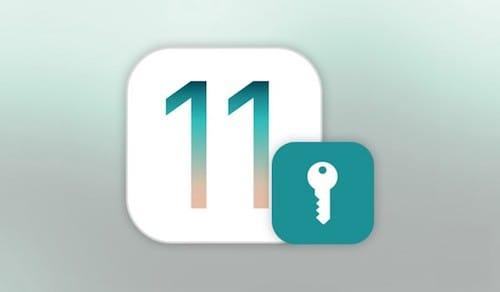 شعار iOS 11 مع رمز مفتاح القفل