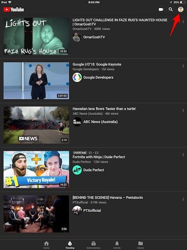 واجهة تطبيق اليوتوب