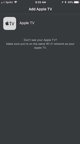 واجهة تطبيق Apple TV remote