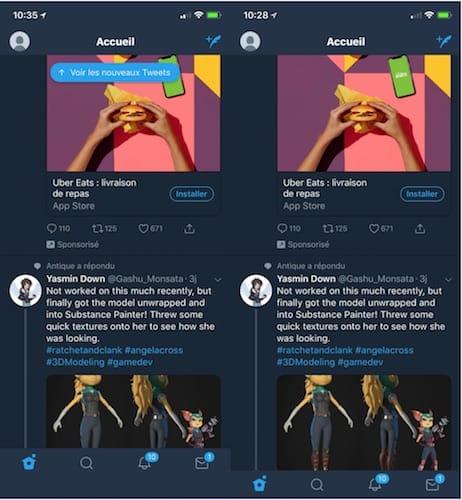 واجهة تطبيق تويتر قبل و بعد تثبيت أداة MoreSpaceTwitterX