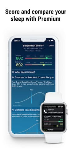واجهة تطبيق Sleep Watch by Bodymatter