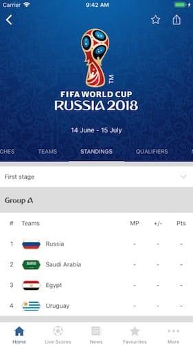 واجهة تطبيق FIFA