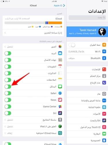 واجهة إعدادات iCloud