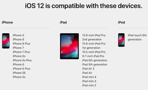 قائمة الأجهزة الداعمة لإصدار iOS 12