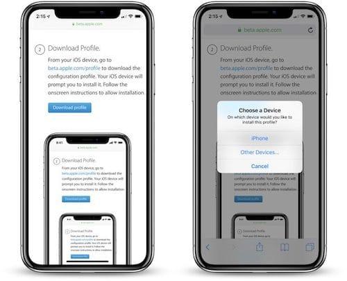 واجهة تنزيل الملف التعريفي لإصدار iOS 12