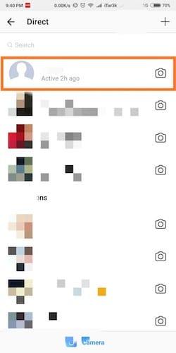 واجهة قسم الرسائل على الانستغرام