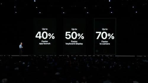 نسبة الزيادة في الأداء مع نظام iOS 12