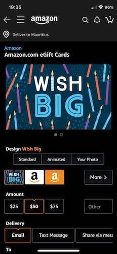 واجهة تطبيق Amazon بالنمط الليلي
