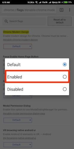 نافذة تفعيل خيار Chrome Modern Design