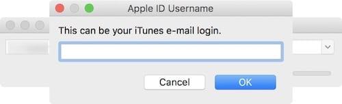 نافذة إدخال حساب Apple ID