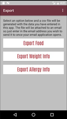 واجهة تطبيق Food Diary