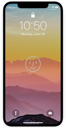 شاشة قفل الايفون و شعار Face ID
