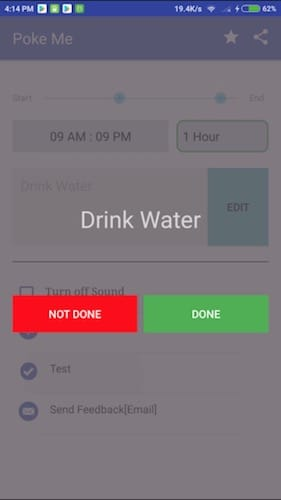 واجهة تطبيق Poke Me - Water Drink Reminder