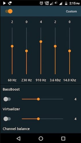 أداة التحكم في مستوى الصوت في تطبيق PowerAudio Pro Music Player