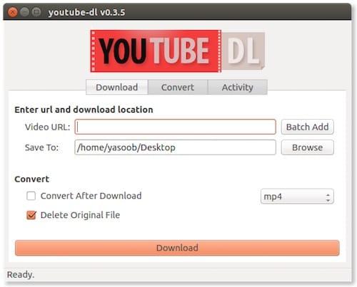 نافذة التحميل على برنامج Youtube DL