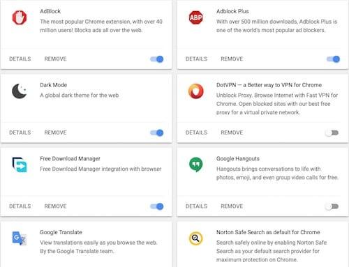 قائمة الإضافات على متصفح جوجل كروم