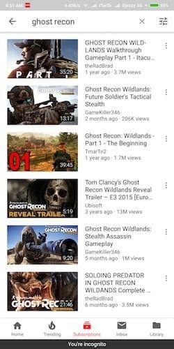 واجهة صفحة البحث في تطبيق اليوتوب