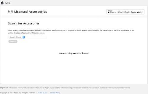 واجهة موقع ابل للتحقق من إعتماد الملحقات