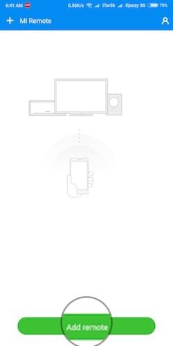 واجهة تطبيق MI Remote