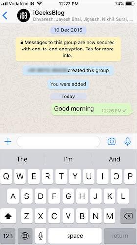 واجهة محادثة على تطبيق الواتس اب