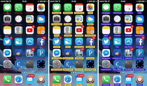الشاشة الرئيسية بعناوين تطبيقات ملونة