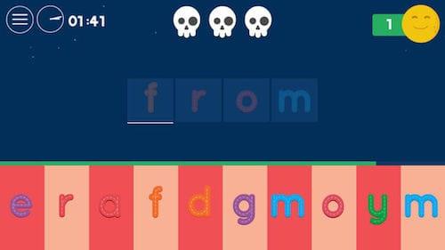 واجهة تطبيق Tiny Words Spelling Game