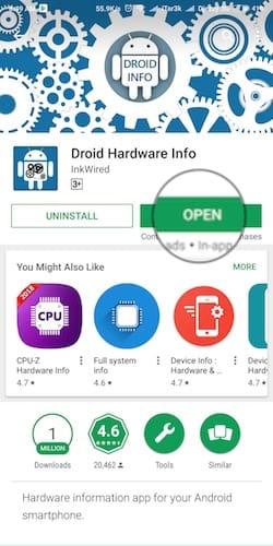 فتح تطبيق Droid Hardware Info