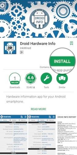 واجهة تثبيت تطبيق Droid Hardware Info