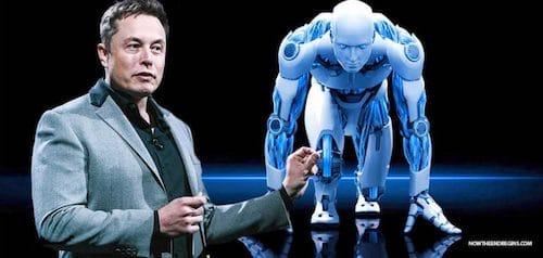 إيلون ماسك و روبوت