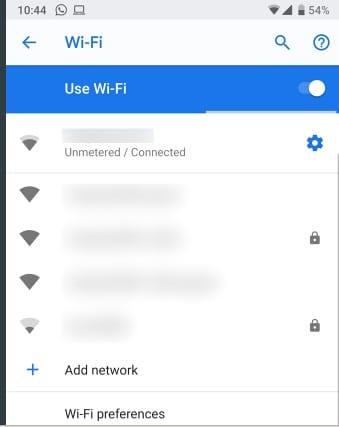 إعدادات الواي فاي لمعرفة عنوان ip في الهاتف الذكي أنرويد