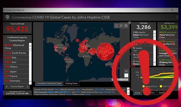 خريطة انتشار لفيروس كورونا تخفي فيروس كورونا للحاسوب والهاتف في شكل تروجان يسرق معلومات المستخدم